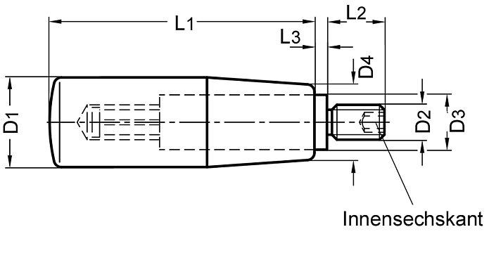 Edelstahl Achsteil Durchmesser 28mm Thermoplast Drehbarer Zylindergriff M10